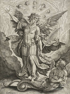 Angel Drawing - St Michael Triumphing Over The Dragon by Hieronymus or Jerome Wierix