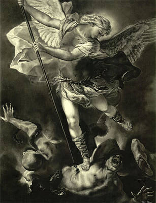 Reptiles Drawing - St. Michael Vanquishing The Devil by Tyler Anderson