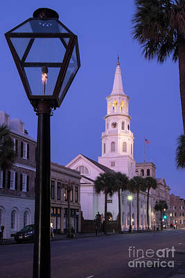 Gas Lamp Quarter Photograph - St. Michael's Church At Twilight Charleston South Carolina by Dawna  Moore Photography