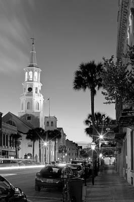 St Michaels Church Charleston Black And White At Night Original by Dustin K Ryan