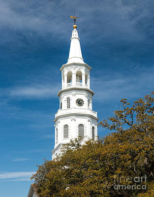 Photograph - St. Michael's Church Steeple Historic Charleston Sc by Donnie Whitaker