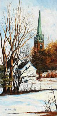 St Michael's Spire In Winter Art Print by Cathleen Richards-Green