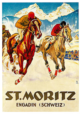 Race Horse Painting - St Moritz by Hugo Laubi