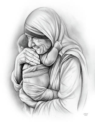 Drawings Royalty Free Images - St Mother Teresa Royalty-Free Image by Greg Joens