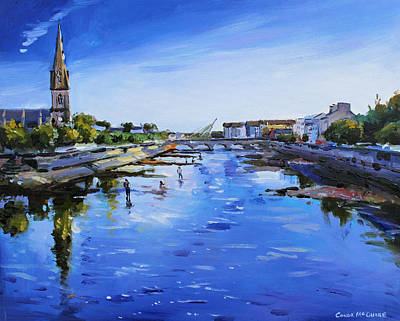 Ballina Painting - St. Muredach's Cathedral From Bridge by Conor McGuire