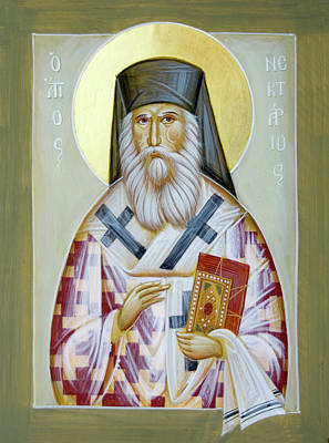 St Nektarios Icon Painting - St Nektarios Of Aigina II by Julia Bridget Hayes