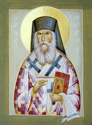 Saint Nektarios Of Aigina Painting - St Nektarios Of Aigina II by Julia Bridget Hayes