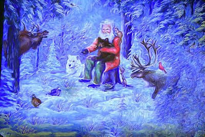 Digital Art - St. Nicholas And Forest Friends by Dennis Baswell
