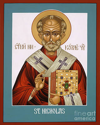 St Nicholas Icon Painting - St. Nicholas - Lwnch by Lewis Williams OFS