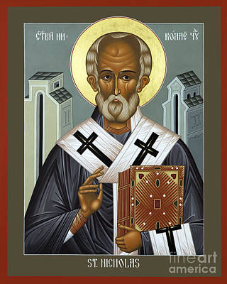 St Nicholas Of Myra Painting - St. Nicholas Of Myra - Rlnic by Br Robert Lentz OFM