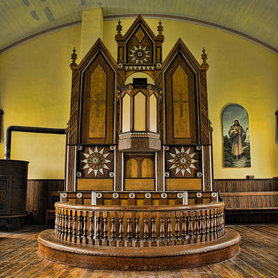 Sermon Photograph - St Olafs Kirke Pulpit by Stephen Stookey