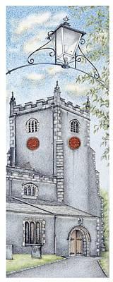 Parish Drawing - St Oswald's Church Clock by Sandra Moore