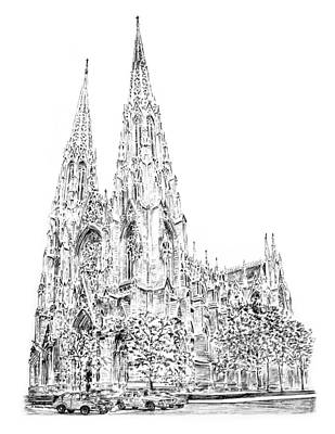 Times Square Drawing - St Patricks Cathedral by Anthony Butera