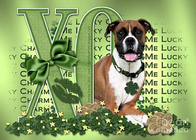 Lucky Dogs Wall Art - Digital Art - St Patricks Day - My Boxer Is Me Lucky Charm by Renae Crevalle