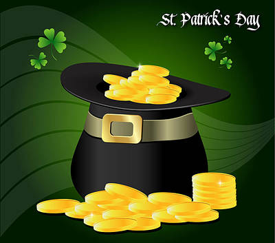 Digital Art - St. Patrick's Day Gold Coins In Hat by Serena King