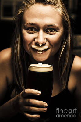 Beer Royalty-Free and Rights-Managed Images - St Patricks Day woman imitating an Irish man by Jorgo Photography - Wall Art Gallery
