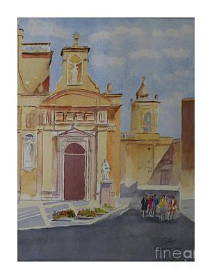 Painting - St Paul Church Rabat by Godwin Cassar