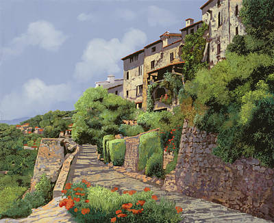 Comedian Drawings - St Paul de Vence by Guido Borelli