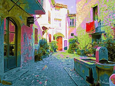 Digital Art - St Paul De Vence Street Scene by Alan Lakin