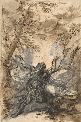 Drawing - St. Paul, Hermit by Salvator Rosa