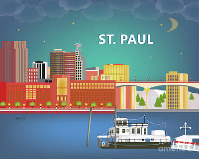 Mississippi River Digital Art - St. Paul Minnesota Horizontal Skyline by Karen Young