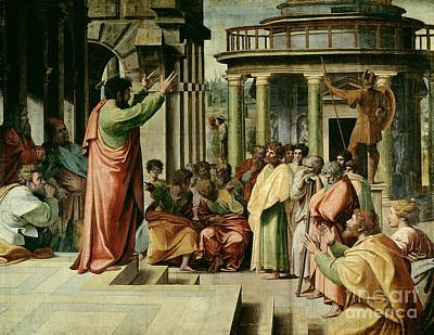 Historic Architecture Painting - St. Paul Preaching At Athens  by Raphael