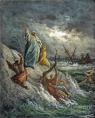 Drawing - St. Paul Shipwreck by Gustave Dore