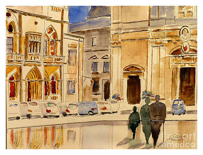 Painting - St Paul Square Mdina Malta by Godwin Cassar
