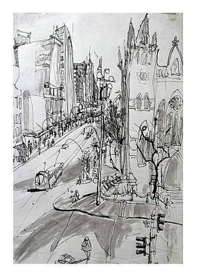 Streetscape Drawing - St Paul's Cathedral 1991 by Richard Mclean