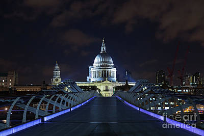 Wren Photograph - St Paul's Cathedral And The Millennium Bridge by Jane Rix