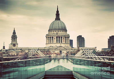 Cloudy Photograph - St Paul's Cathedral Dome Seen From Millenium Bridge In London, The Uk by Michal Bednarek