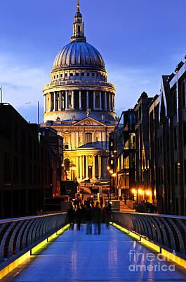 Illuminated Photograph - St. Paul's Cathedral From Millennium Bridge by Elena Elisseeva