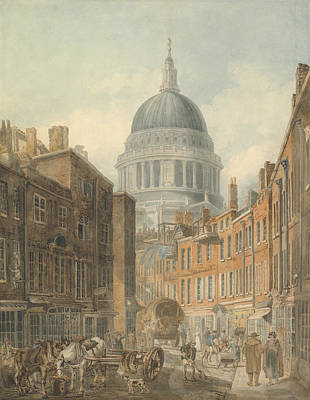 Drawing - St. Paul's Cathedral From St. Martin's-le-grand by Thomas Girtin