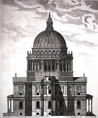 St. Pauls Drawn By Christopher Wren Art Print by Wellcome Images