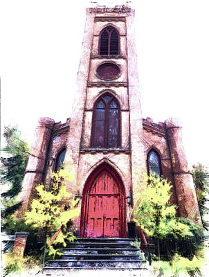 Finger Lakes Digital Art - St Paul's Episcopal Church, Montour Falls Ny by Leslie Montgomery
