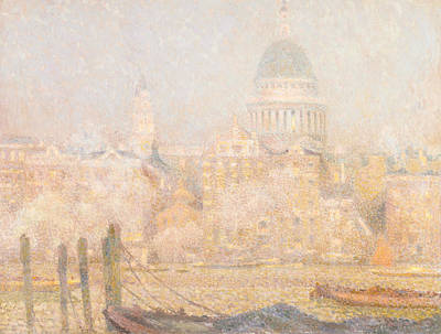 Photograph - St. Paul's From The River - Morning Sun In Winter by Henri Le Sidaner
