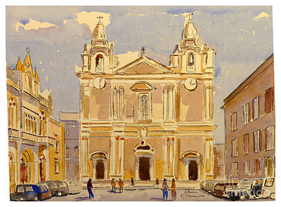 Painting - St Paul's Square Mdina by Godwin Cassar