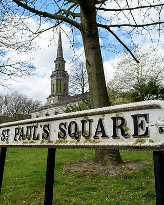 Photograph - St Pauls Square Old British Street Sign by Jacek Wojnarowski