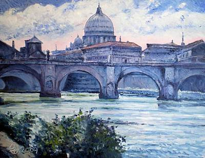 St Peter And Ponte San Angelo Rome Italy 2009 Art Print by Enver Larney