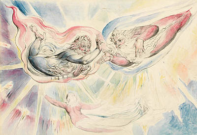 William Blake Painting - St Peter And St James With Dante And Beatrice by William Blake