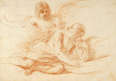 Angel Drawing - St Peter And The Angel by Guercino