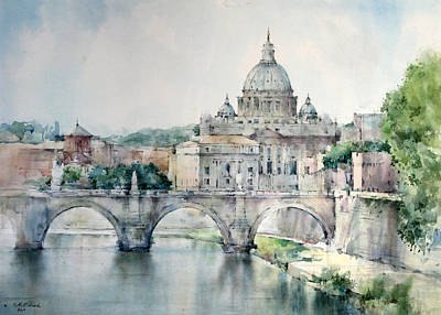 Green Painting - St. Peter Basilica - Rome - Italy by Natalia Eremeyeva Duarte