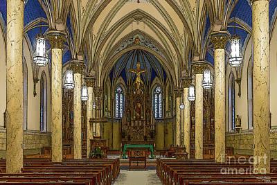 Mixed Media - St Peter Catholic Church Jc Painterly by Jennifer White