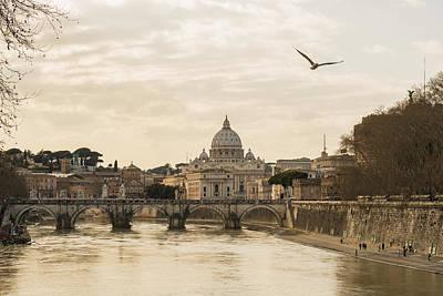 St. Peter S Basilica And River Tiber Art Print by Mats Silvan