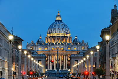 Photograph - St. Peters Basilica And Street by Songquan Deng