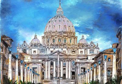 Digital Art - St. Peter's Basilica by Andrzej Szczerski