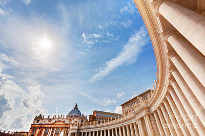 Photograph - St. Peter's Basilica Colonnades Columns In Vatican City by Michal Bednarek