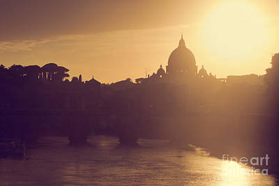 Photograph - St. Peter's Basilica, Vatican City.  Tiber River In Rome, Italy At Sunset by Michal Bednarek