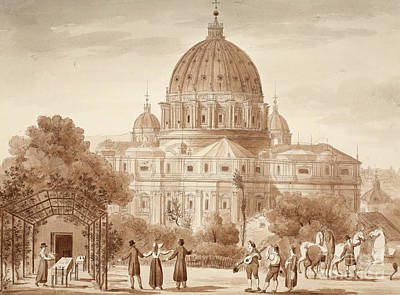 Enjoyment Drawing - St Peters Seen From A Vineyard, 1833 by Agostino Tofanelli