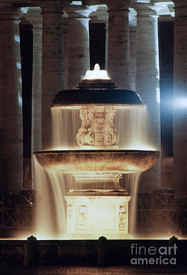 St Peter's Square Fountain By Night Art Print
